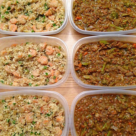 Shrimp Cauliflower Stir Fry & Lentil Soup Meal Prep