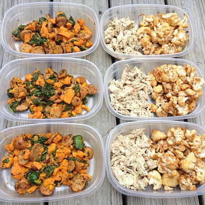 Chicken Sausage & Sweet Potato + Chicken Salad & Cauliflower