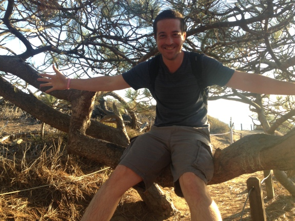 Ed in tree at Torrey Pines