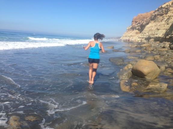 Runing barefoot in Del Mar