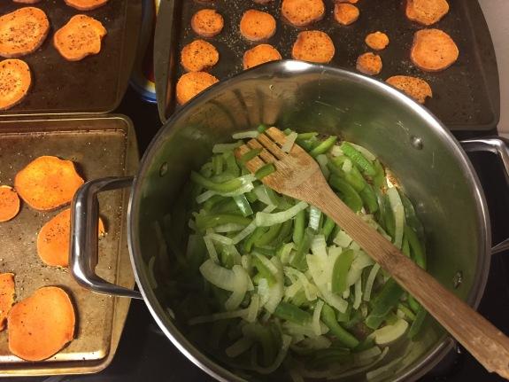 Peppers, Onions, & Sweet Potatoes