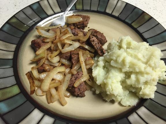 Steak, Onions, Cauliflower Mash